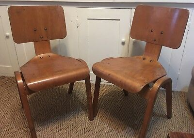 6 Mid-Century  Plywood school stacking chairs  Hillestak -Robin Day Eames Style?