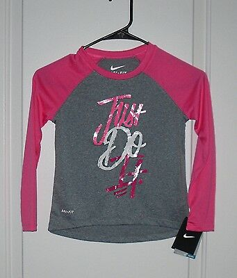 NWT NIKE GIRLS Size 6 White Gray Pink Green Blue JUST DO IT Long ... ff1943a13
