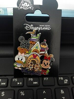 2014 Hong Kong Disneyland Disney Cute Minnie Daisy & Moving Chip Dale Pin