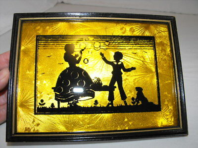 Vintage Framed Gold Foil Reverse Painted on Glass Silhouette Picture Boy & Girl