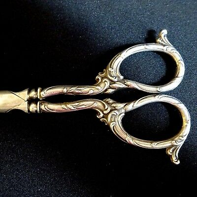 Antique Silver Grape Scissors Art Nouveau French Vintage Shears Flatware Rare