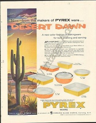Pyrex 1955 Vintage Magazine Ad Now - from the makers of Pyrex Ware - Desert Dawn