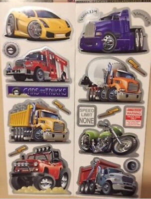 CAR TRUCKS MOTORCYCLE wall stickers 19 decals transportation signs monster fire