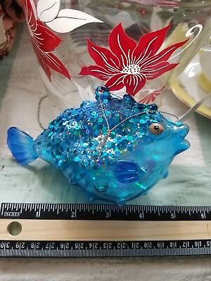 Bedazzled Blue Sequined Blow Fish Tropical Christmas Ornament - NWT