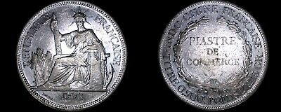 1893-A French Indo-China 1 Piastre World Silver Coin - Vietnam