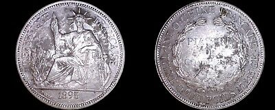 1895-A French Indo-China 1 Piastre World Silver Coin - Vietnam