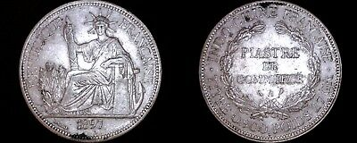 1897-A French Indo-China 1 Piastre World Silver Coin - Vietnam