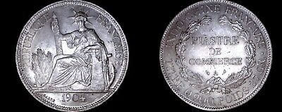 1904-A French Indo-China 1 Piastre World Silver Coin - Vietnam