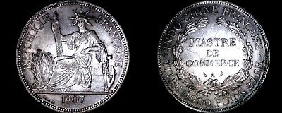 1907-A French Indo-China 1 Piastre World Silver Coin - Vietnam