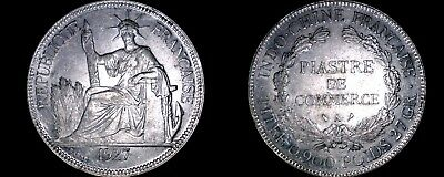 1927-A French Indo-China 1 Piastre World Silver Coin - Vietnam