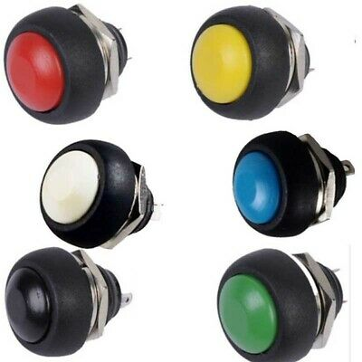 6Pcs 6 Color Mini 12mm Waterproof Momentary ON/OFF Push Button Round Switch Tool