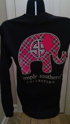 Simply Southern Long Sleeve T-Shirt: Preppy Plaid Elephant - Black with Gold