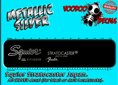Squier Stratocaster Japan (ALL SILVER) Restoration Waterslide Decal