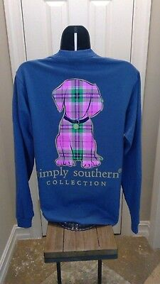 Simply Southern Long Sleeve T-Shirt: Preppy Plaid Puppy - Moonrise Blue