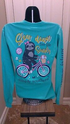 Simply Southern Long Sleeve T-Shirt: Slow Down, Live Simply (Sloth) Aruba Green