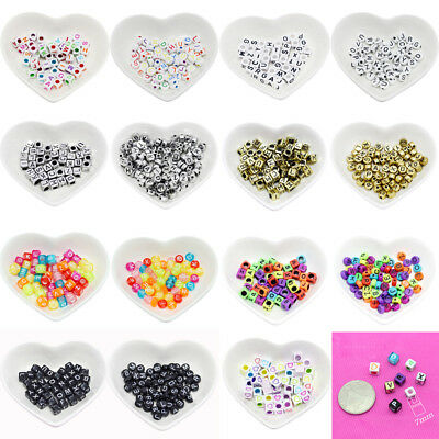 100pcs Mixed Alphabet Letter Beads 4*7mm 7*15mm DIY Making Crafts Spacer Beads
