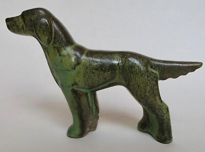 Frankoma Pottery Large English Setter Dog Figure Ada Clay Original Sticker.