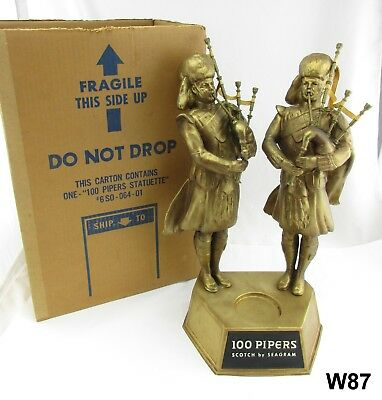 """Vtg Seagram's 100 Pipers Scotch Bag Pipers Statues Dbl Back Bar 21"""" Man Cave W87"""