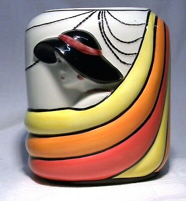 Old Ellgreave Pottery Clarice Cliff Style Lorna Bailey Flapper Vase