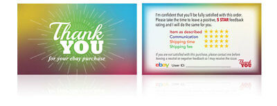 50 ebay Seller THANK YOU Business Cards 5 Star Feedback Rating *Free Shipping*
