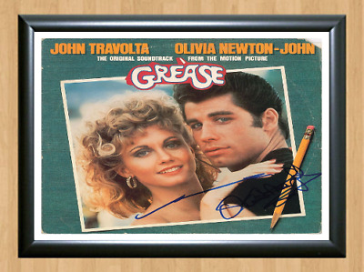 John Travolta Olivia Newton-John Grease Signed Autographed A4 Poster Photo dvd