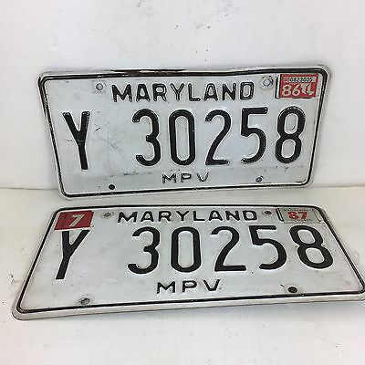 Vintage License Plates Maryland 1986 MPV Black & White 80s Y30258 Pair Set of 2