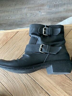 1c2b458568e4 MIA Slouchy Leather Boots Black With Side Buckles Womens size 7