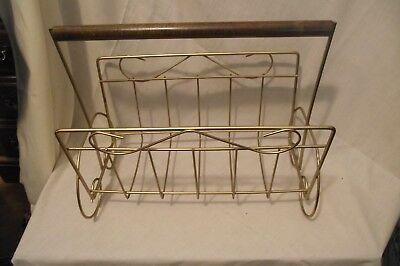 Mid Century Bent Wire Metal Magazine Or Album Rack Stand  Wood Handle Gold