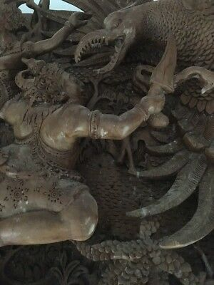 South East Asian Hand Carved Dimensional Wood Panel - End Of Nature