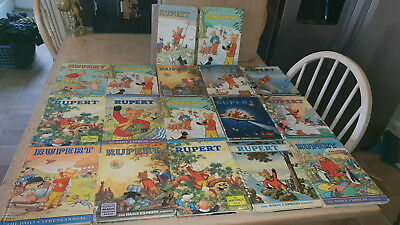 Collection Of 17 Rupert The Bear Annuals 1950's 60's 70's