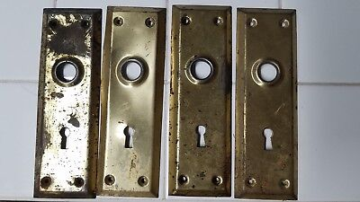 BUY IT NOW! 4 Matching Vtg.Antq.Brass Door Knob Backplate Plate Covers