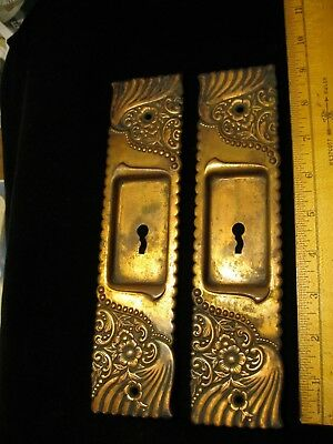 Pair Vintage 1895c. POCKET SLIDING DOOR  Plates Roanoke pattern by Corbin