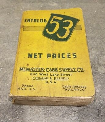 Vintage McMaster Carr Supply Co. Catalog No 53 hit miss anvil planes tools 1946