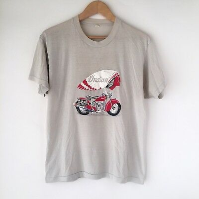 1980s INDIAN MOTORCYCLES Vintage Tee, RARE, 50/50 Harley Davidson Motorcycle 80s