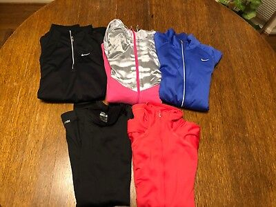 Lot Of 5 Nike Womens Dry Zip up Running Fitness Pullover Top Athletic Size S