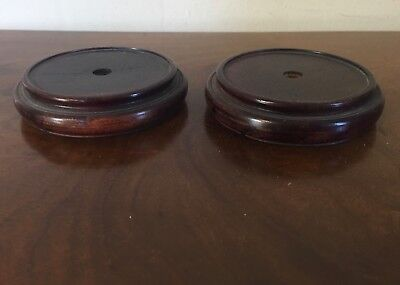 Pair Carved Wood Display Stands for Chinese Porcelain Vase Lamp Base Mahogany