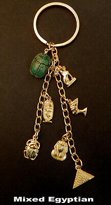 Ancient Egyptian Charm Key Chain / Gold Tone / 6 Charms + Scarab