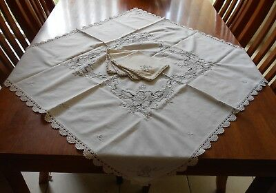Vintage Machine Embroidered & Cutwork Cream Linen Tablecloth with 4 x Napkins