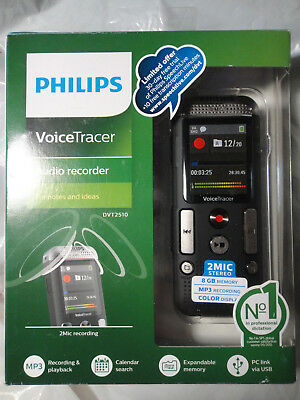 Philips Dvt2510 Voice Tracer 8Gb 2Mic Audio Recorder Brand New, Sealed