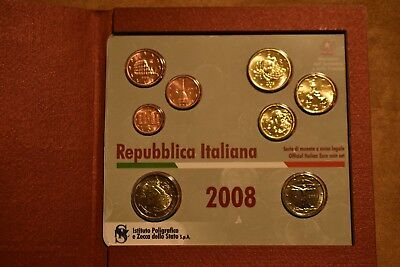 2008 Italian Republc division series euro proof set 8 coins