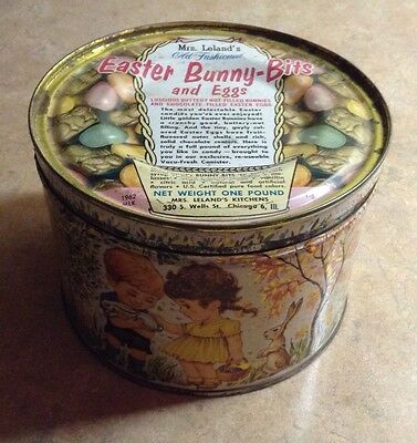 Vintage Metal Tin 1962 Mrs. Leland's Old-Fashioned Candies With Yellow Cover