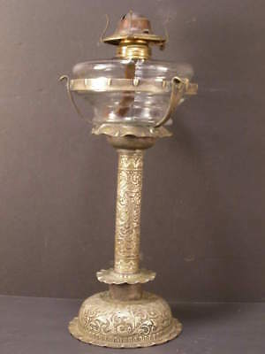 1890 Silver Nouveau Relief Attorney Award Trophy Stand Holder Gas Newel Oil Lamp