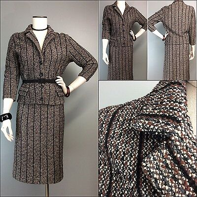 Vtg 50s Suit Knit Banff Boucle Skirt Jacket Nubby Striped Virgin Wool Tailored M
