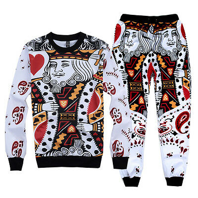 Long Sleeve Sweater Casual 3d Poker King Of Hearts Print Men