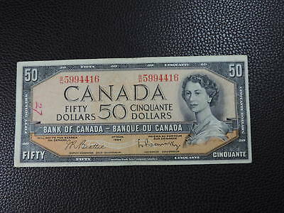 1954 $50 Dollar Bank note Canada Modified B/H5994416 Beattie Rasminsky VF Grade