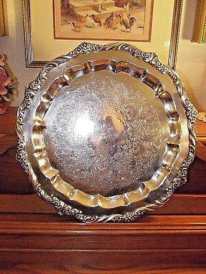 """HERITAGE 1847 Rogers Bros.#9473 Silverplate Floral 17"""" Serving Tray/Platter IS"""
