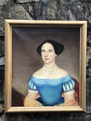 Antique c1830s Fine PORTRAIT Painting BEAUTIFUL WOMAN LADY Oil on Canvas Pearls