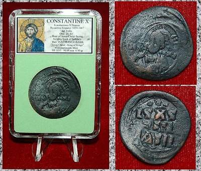 Ancient Byzantine Empire Coin Of Constantine X Jesus Christ Holding Gospel