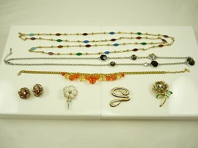 Nice Mixed Lot of Vintage Estate Jewelry Necklaces Brooches Clip Earring #2