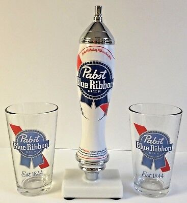 Pabst Blue Ribbon PBR Beer Pub Style Tap Handle & Two (2) 16 oz Pint Glass ~ NEW